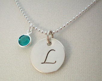 Handstamped Initial Sterling Silver Necklace, Silver Initial Necklace, L Initial Necklace