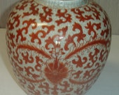 Antique Qing Chinese Export Iron Red Clobbered Clear Glazed Crackle Porcelain Ovoid Vase