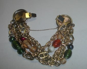 "Vintage Gold Tone 5-Strand Victorian Revival Charm Bracelet w Lucite Beads & Safety Chain-7-3/4"" Long Steampunk"