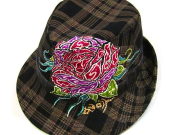 Handpainted Rose with glitter Tattoo Style Cotton Check Fedora