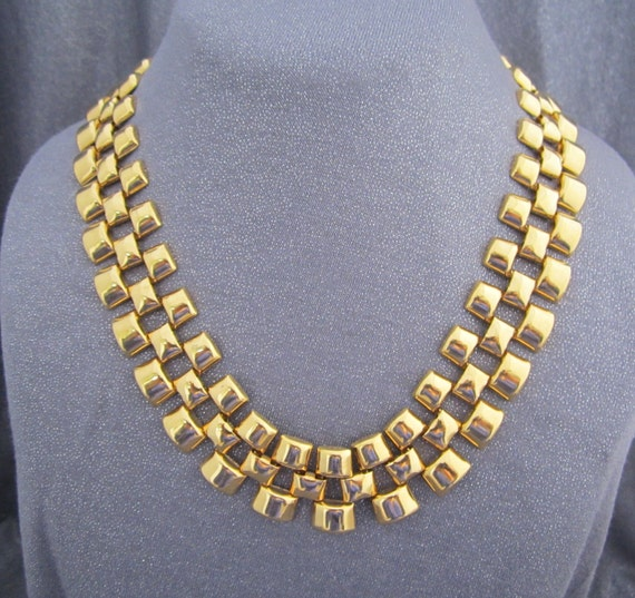Gold Metal Woven Chain Necklace, Vintage Avon Jewelry