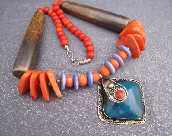 Beaded Pendant Tribal Necklace, Orange and Blue Necklace