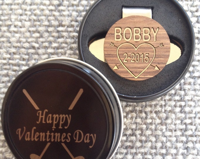 Personalized Wood Golf Ball Marker & Hat Clip - Valentines Day Gift for Him, Husband, Wife, Boyfriend, Dad