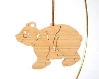 Wooden Panda Bear Christmas Ornament Wild Endangered Animal Hand Cut  Scroll Saw Maple