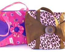 Girls Tote Bag PDF Sewing Pattern - Six Pockets - Sewing Pattern - Button or Fabric Flower Option