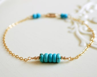 Real Turquoise Bracelet, Gold Filled or Sterling Silver, Genuine Gemstone Row, Dainty, Simple Jewelry, Free Shipping