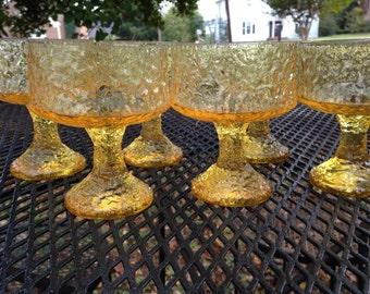 Vintage Set of 6 Yellow Lenox Hand Blown Impromptu Sherbet Dessert Champagne Glasses