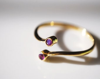 Adjustable Solid 10K Gold Ring with Rubies, July Birthstone