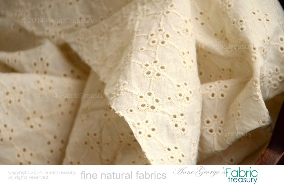 Organic cotton eyelet embroidery fabric butter cream beige