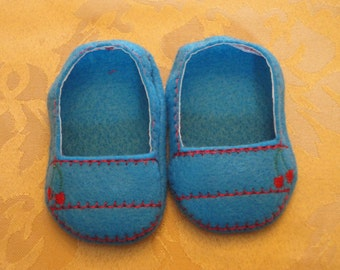 """18"""" Doll Shoes -Turquoise with Red Cherry Slip Ons"""