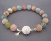 Colorful Natural Morganite Bead Bracelet Magnetic Closure