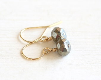 Modern Pyrite Earrings // 14K Gold Filled // simple modern everyday earrings