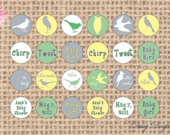 Circle Stickers - Birds Silhouettes - Baby Showers or Birthday Parties