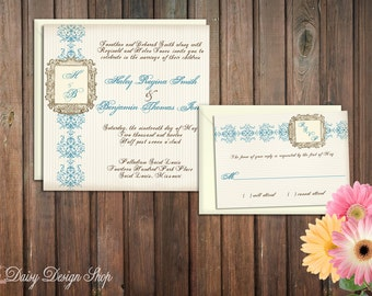 Wedding Invitation - French Vintage Stripes and Damask Swirls - Invitation and RSVP Card with Envelopes