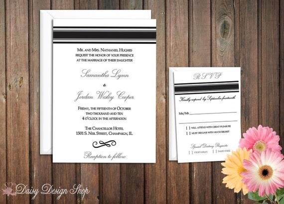 Wedding Invitation - Elegant Stripes - Simple and Modern - Invitation and RSVP Card with Envelopes