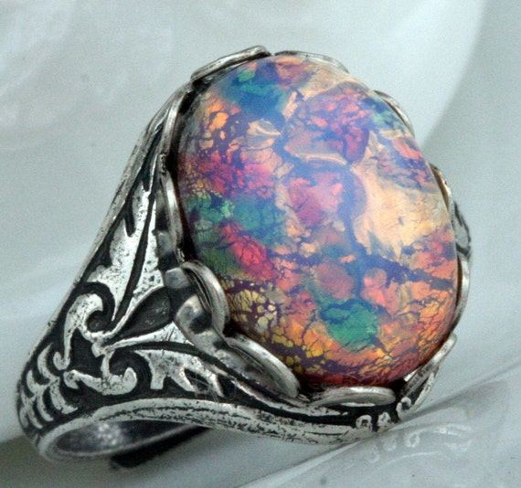 Items Similar To Opal Ring Exquisite Braided Opal: Items Similar To Pink Fire Opal Ring Adjustable Fire Opal