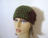 Green and Brown Crochet Beanie Hat - Womens Flower Hat