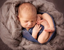 Leighton Heritage Newborn Stretch Wrap IN STOCK and Ready to Ship Knit Swaddle Photography Prop Swaddler Layering Texture Blue Boy Posing