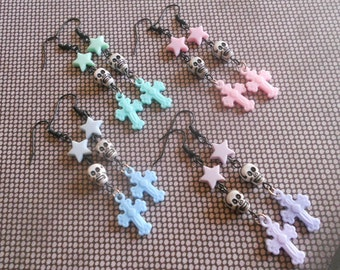 Skull earrings with stars and crosses creepy lolita fairy kei pastel goth