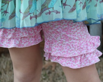 pink and pastel floral print  knit double ruffle shorts shorties sizes 12m - 14 girls