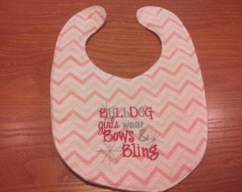 Georgia Bulldog Girls Wear Bows & Bling Embroidery Handmade Baby Bib On Pink Chevron
