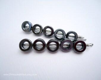 Beaded bobby pins - Hematite rings modern retro simple round decorative embellish hair accessories TREASURY ITEM