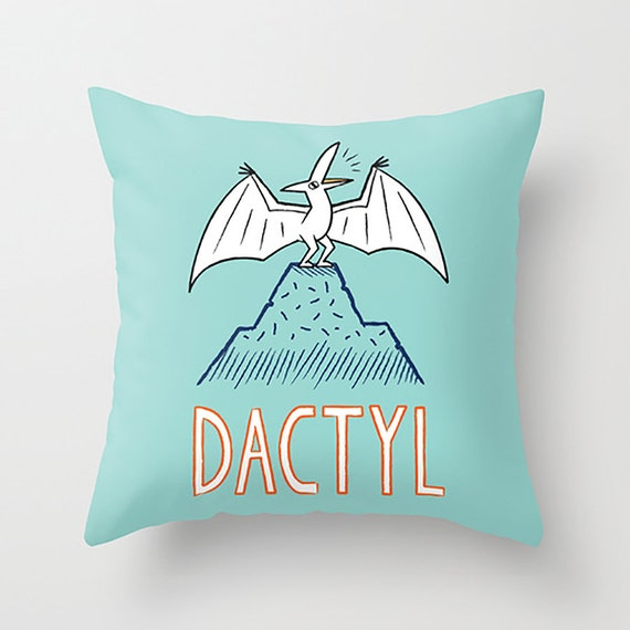 "DACTYL - illustrated Pterodactyl Dinosaur Throw Pillow / Cushion Cover (16"" x 16"") by Oliver Lake"