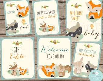 WOODLAND Baby Shower Decorations SIGNS // Woodland Baby Shower Fox Deer Racoon  // Instant Download // Food Drink Welcome Baby Shower Signs