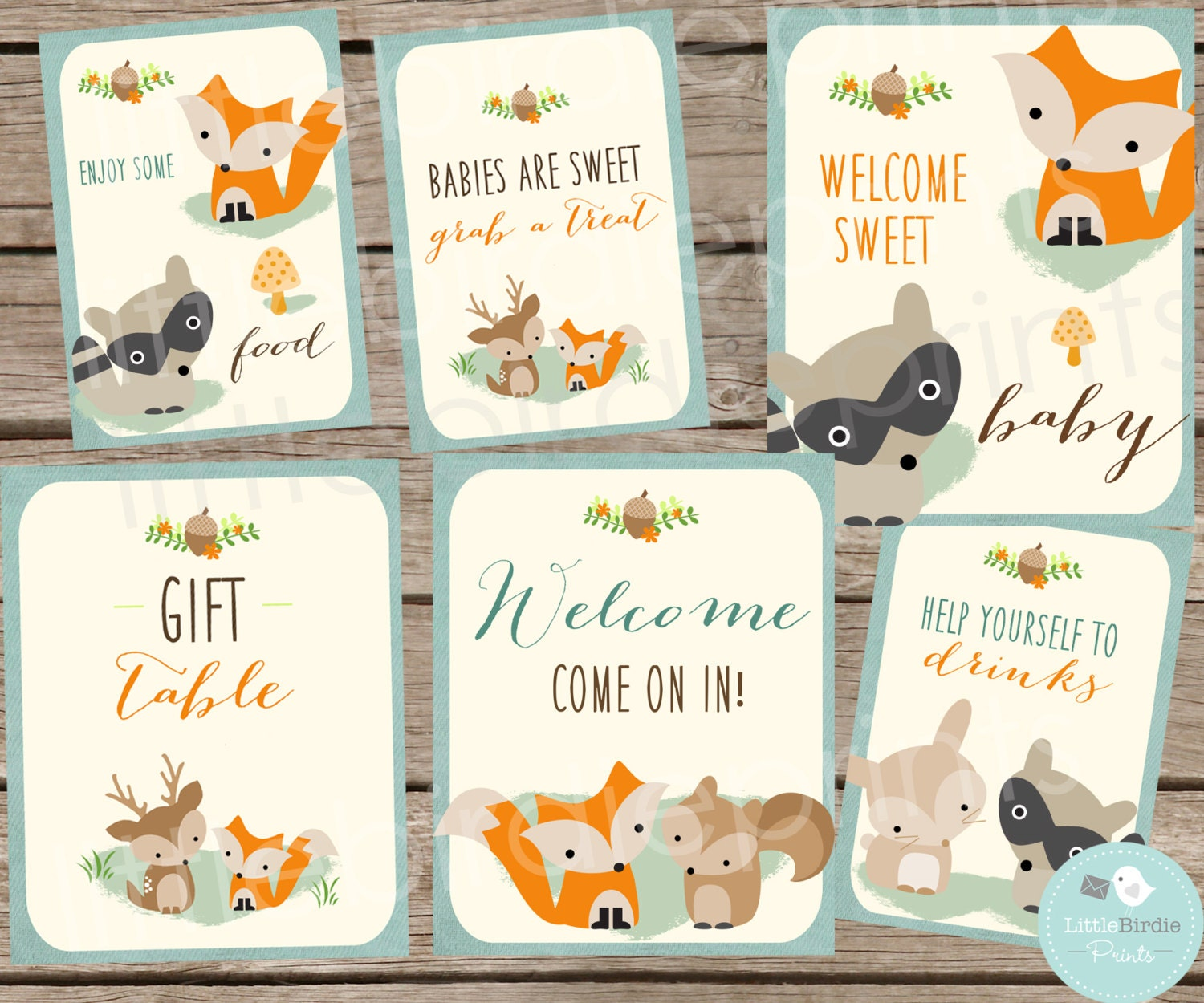 woodland baby shower decorations signs woodland baby shower fox deer racoon instant