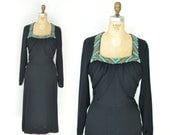 SALE! 1940s Beaded Dress / 40s Black Rayon Dress