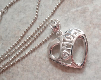 Sterling Mom Necklace I Heart Mom Crystal CZ Silver 20 Inch Ball Chain Vintage V0384
