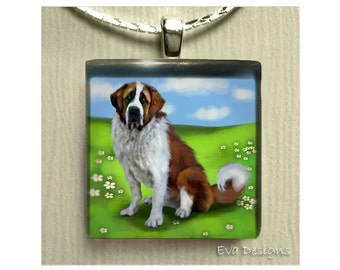 SAINT BERNARD DOG meadow necklace jewelry gift art pet 1 inch glass tile pendant with chain