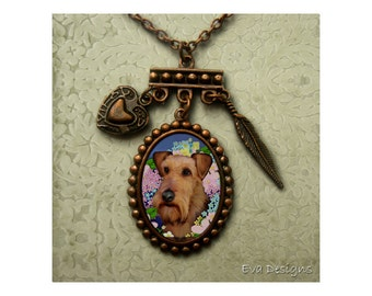 AIREDALE TERRIER DOG jewelry pendant pet art gift print antiqued copper charm necklace