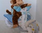 Motorcycle Diaper Cake, Baby Shower Gift, 2 Wheeler, Baby Boy Gift, Monkey Stuffed Animal,Jungle  New Baby