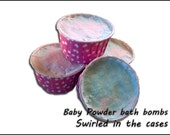 Baby powder scented bath bombs in cases