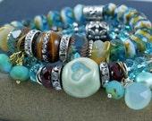 TIGERS EYE, Boho, hippie, stackable stretch bracelet,browns and aqua