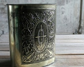Vintage Metal Dustbin / Wrapping Paper Holder