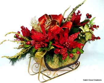 Elegant Sleigh Centerpiece Floral Arrangement Traditional red n gold Poinsettias matching Wreath available Custom by Cabin Cove Creations