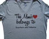 Mimi gift - MIMI shirt, tops and tees, This Mimi's heart belongs to (you add names) -Mimi personalized grandchildren shirt Mother's day gift