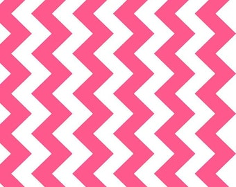 SALE - One Yard - Medium Chevron in Neon pink by Riley Blake