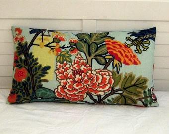 Schumacher Chiang Mai Dragon in Aquamarine Designer Lumbar Pillow Cover  12x16