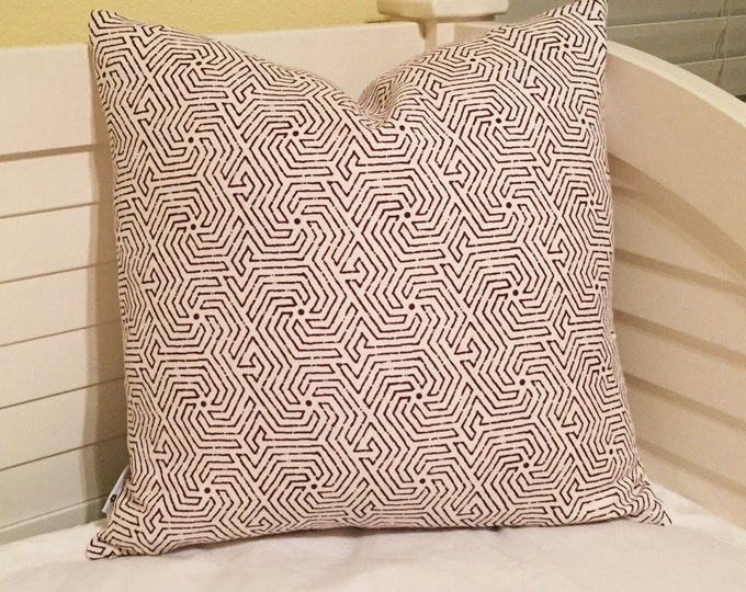 Quadrille China Seas Maze in Purple on Tint Designer Pillow Cover