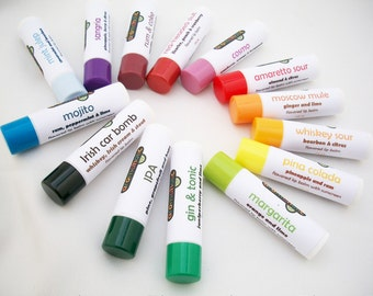 Any 4 cocktail-flavored lip balms - Gin & Tonic lip balm, Belgian beer lip balm, Moscow Mule flavored lip balm