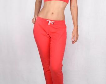 Churidar Pants in  Cotton Lycra CORAL - Dance wear, Yoga wear, Active wear, Casual wear