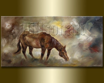 Horse Portrait Original Animal Oil Painting Textured Palette Knife Modern Art 20X40 by Willson Lau