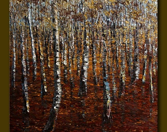 Modern Landscape Painting Birch Forest Oil on Canvas Textured Palette Knife Original Tree Art 30X30 by Willson Lau