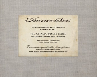 "Wedding accommodation card / Accommodation card / Enclosure card / Enclosure cards / Vintage Wedding Accommodations Card - the ""Eliana"""