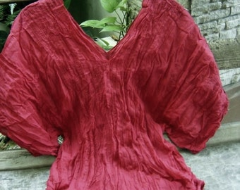 Thai Simply Loose Fit Cotton V Blouse - Red Wine