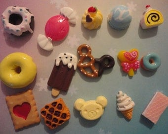 Sale--kawaii sweets cabochon mix decoden deco diy charm 15 pcs   #416--USA seller
