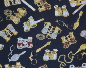 SPECIAL--Opera Glasses Print on Black Pure Cotton Fabric--One Yard